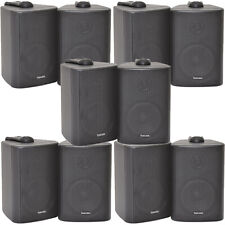 "10x 60W 2 Way Black Wall Mounted Stereo Speakers -3"" 8Ohm- Mini Background Music"