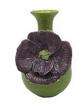 "ANTHROPOLOGIE Vase 3D Curvy Chrysanthemum Flower Pottery Decor Retired Green 9"""