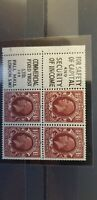 GB Stamps. GV. 1934 1 1/2d Booklet pane of 4 + labels U/M 70