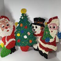 4 VINTAGE CHRISTMAS MELTED PLASTIC POPCORN DECORATIONS TREE SANTA SNOWMAN RETRO