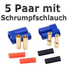 5 Paar EC5 Hochstromstecker Stecker + Buchse Goldstecker mit Schrumpfschlauch