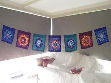 Inspirational Balinese affirmation hand painted large yoga mandala prayer flags