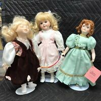 Lot Of 3 - Soft Expressions Genuine Fine Bisque Porcelain Dolls 2-COA 2-Easter