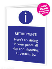 Retirement Leaving Work Job Large Card Funny Comedy Humour Cheeky Novelty Joke