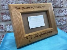 Personalised Wooden Photo Frame Dog Memorial Cat Favourite Hello Hardest Goodbye
