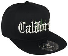 California Weed Leaf Flat Bill Snapback Snap Baseball Cap Caps Hat Hats Black OE