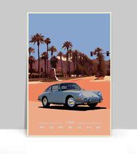 """1965 porsche 911 Silver Indian Wells. Aluminum Poster 18""""x 24"""""""