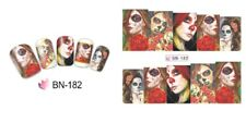 Nail Art Sticker Water Decals Transfer Stickers Halloween Skull Gothic (BN182)