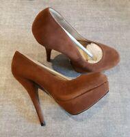 Koi Couture size 5 brown faux suede platform stiletto court shoes heels