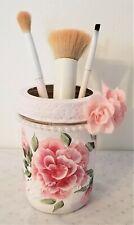 "Mason 4"" Jar Makeup Trinket Pink Roses Painted Wide Mouth"