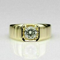 2 Ct Round Solitaire Diamond 14K Yellow Gold Finish Engagement Ring Mens Band