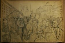 Russian Ukrainian Soviet pencil Painting socrealism demonstration people holiday