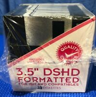 """3.5"""" DSHD Formatted Disks 23 Diskettes W/ Labels New /Open Box IBM & Compatibles"""