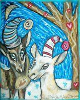 NIGERIAN DWARF Jesters Winter Dairy Goat Folk Art Print 8x10 Farm Collectible