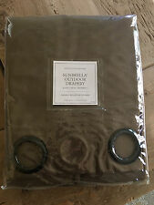 "Restoration Hardware Sunbrella outdoor drape with grommets MOCHA 108""L x 50""W"