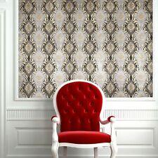 Paper Wallpaper gray black beige gold metallic textured Victorian Vintage damask