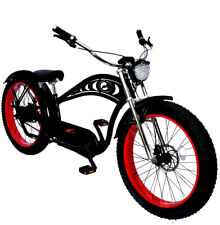 MICARGI FAT TIRE CYCLONE DELUXE CHOPPER STYLE ELECTRIC BEACH CRUISER 5 SPEED