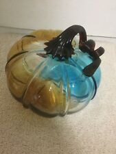 NEW BELLA LUX HAND BLOWN ART GLASS Murano Style Blue Gold Clear Stem PUMPKIN