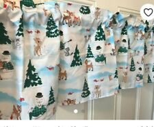 valance curtain Christmas white Rudolph and frosty 14 inch by 42 nwot new window