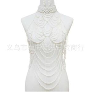 Alloy Pearl Necklace Harness Chest Body Chain Beach Bikini Bra Jewelry
