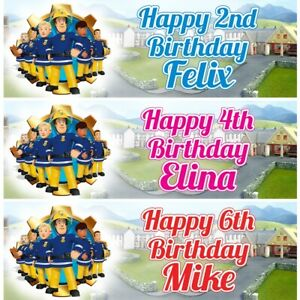 2 Personalised Fireman Sam Birthday Banners Party Decoration Any Name Age