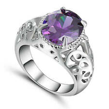 Unisex Jewelry Purple Amethyst white Rhodium Plated Filled Ring Fashion Size 8