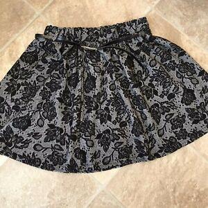 Skater Skirt Size 10 Black/Grey with Belt Length 16'' Elastic Waist