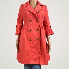 Plastic Island Peplum Trench Coat Jacket USA 6 Coral Pink Orange Ruffled Lined