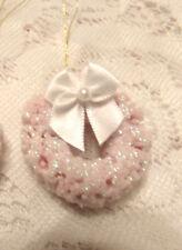 Pink Mini Wreath Tree Ornament Shabby Bottle Brush Miniature Pearl Dollhouse