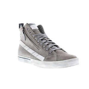Diesel D-Velows Mid Lace Mens Gray Suede High Top Lifestyle Sneakers Shoes 8
