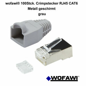 wofawi® 100 x Netzwerk-Stecker CAT6 Einfädelhilfe Hülle Crimp RJ45 Metall grau