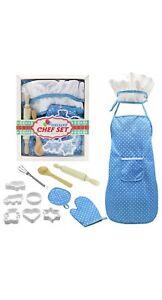 Kids Apron Chef Hat Set Childrens Cooking Baking Aprons For Boys Girls UK