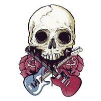 Totenkopf Gitarre Aufkleber Skull Sticker Guitar Rosen Auto Motorrad Schädel