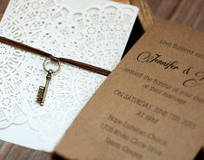 Rustic doily cut-out digital print wedding invitation-Kraft Paper Insert Card