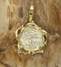 ATOCHA Coin Dolphin Pendant 925 Sterling Gold Overlay Sunken Treasure Jewelry