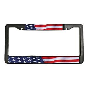 American Flag America US USA Patriotic Freedom Black License Plate Frame UNITED