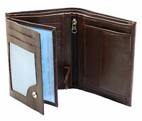 Mens RFID Quality Soft Leather Wallet ID Window, Zip And Coin Pocket 503 Brown