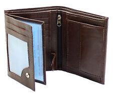 Uomo Qualità Morbido Portafoglio di Pelle con finestra ID, zip e tasca per monete 503 Marrone