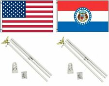 3x5 Usa American & State of Missouri Flag & 2 White Pole Kit Sets 3'x5'
