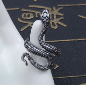 Snake Stainless Steel Ring Gothic Punk Men Women Jewelry Resizable Fashion Gift