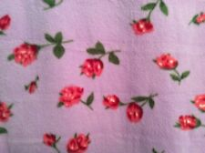 "mini rose red flower fleece fabric on purple, 60"" wide, sold by the yard"