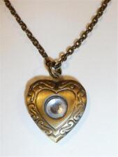 Bronze Medaillon Halskette - Herz mit Strass hm867