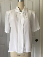 Vintage Peters And Ashley White Short Sleeve Button Up Blouse Shirt 12