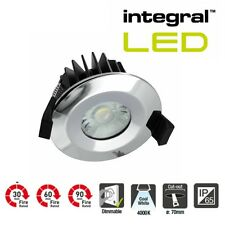 Integral LED Dimmable IP65 Low Profile Fire Rated Downlight 6 Watt 4000K Chrome