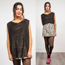 RETRO WOMENS 90'S GOLD GLITTER BLOUSE TOP SCOOP NECK SLEEVELESS PARTY SPARKLE 14