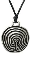 Labyrinth Tintagel Pendant Ancient Maze Pewter Pagan Symbol Corded Necklace