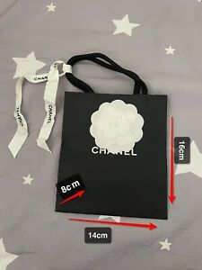 100% Authentic Chanel Small Paper Bag(14×16×8cm) With Flower And Ribbon