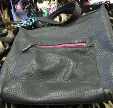 Purse Large Coach Shoulder Bag Grey With Fuschia Tassel & Zipper