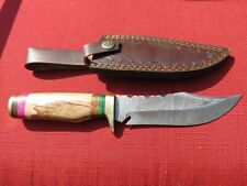 Large Damascus Bowie knife w blonde colored wood handle & leather sheath