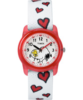 Peanuts Watch Snoopy Woodstock Timex Kids White Band with Red Hearts